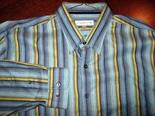 Cutter & Buck Blue-Navy-Green-Yellow Striped 100% Cotton Sport Shirt Size Xl