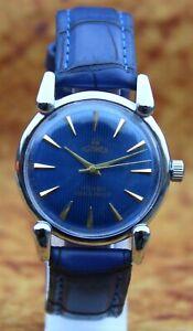 Luxury Vintage Roamer FHF ST96 17Jewels Hand Wind Blue Dial Swiss Men Wristwatch