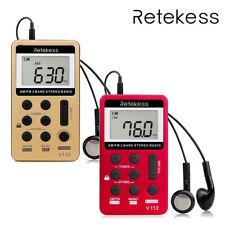 Retekess Pocket FM/AM Radio Digital Tuning Mini Receiver Earphone for Sport US