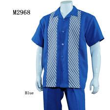 Men's Summer 2-PC Casual set, Shirt & Pants Set, Walking Suit Plaid/Solid Design