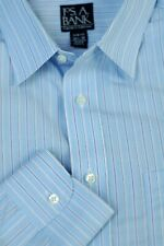 Jos A Bank Men's Travelers Light Blue Multi Stripe Cotton Dress Shirt 16.5 x 33