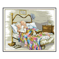Old Married Couple DIY Stamped Cross Stitch Kit Christmas Gifts 14CT 44x36cm