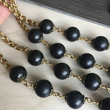 "12MM Black Wood Ebony Bead Waist/Wall Vintage Cross Catholic 50"" habit rosary"