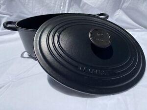 Like New! Le Creuset Cast Iron Satin Black Oval Casserole Dish 29cm - (RRP$619)