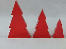 3 Red Silhouette Solid Plastic Christmas Trees