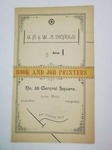 1887 Lynn Massachusetts Advertisement Nichols Book Printing Printer Central Sq.