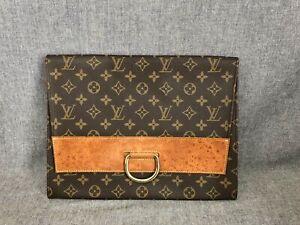 Authentic Louis Vuitton Lena Monogram Canvas Brown Leather Clutch