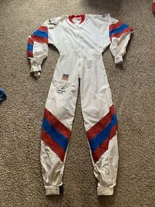 Sfr rare flight suit Skydiving Parachute Jump Red white blue M/L Vintage USA
