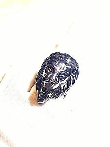Large Silver Stainless Steel Lion Head Crest Size 12 Men's Ring