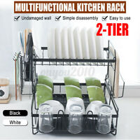 2 Tier Dish Rack Kitchen Drainer Drying Tray Cutlery Holder Over Sink Shelf Rack