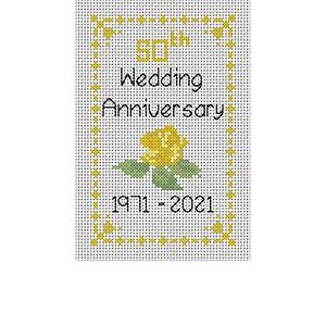 "Cross stitch kit, 50th Golden Rose Wedding Anniversary Card, 8"" x 6"" card size,"