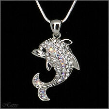 Dolphins Marine Ocean Sea Pendant Necklace Charm Chain Costume Jewelry Clear New