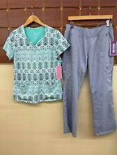 New Healing Hands Gray Print Scrub Set With Medium Top & Medium Petite Pants Nwt