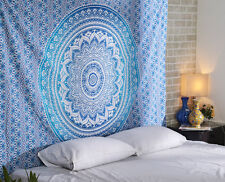 Blue Ombre Indian Wall Hanging Hippie Mandala Tapestry Bohemian Bedspread Dorm7