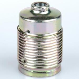 E27 Metall-Fassung Schraubmantel, Nip.gew.M10x1 Druckfeder,vermessingt