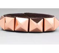 Linea Pelle Women's Grayson Bracelet Faceted Pyramids Brown Rose Gold 2236