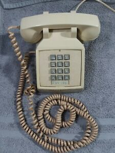 Vintage cream Push Button ITT Desk Phone w/line Made in USA Retro Works! 80s