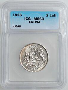 "Latvia 2 lati 1926, ICG MS63, ""First Republic (1922 - 1940)"""