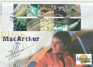 19 MARCH 2002 COASTLINES FIRST DAY COVER HAND SIGNED BY ELLEN MacARTHUR SHS