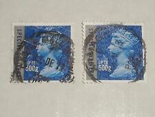 """2010 GB Stamps SPECIAL DELIVERY 500g x 2 Stamps SGU2986 Both """"OFF"""" Paper USED"""