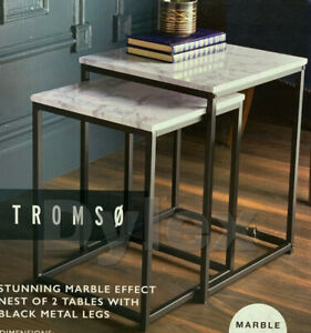 NEW LOFT RANGE MODERN SET OF 2 MARBLE EFFECT NEST OF TABLE WITH METAL FRAME