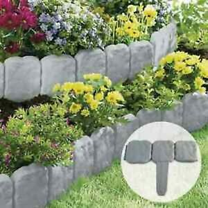 10 20 30 40 Pack Dark Grey Cobbled Stone Effect Garden Lawn Plant Edging Plant B