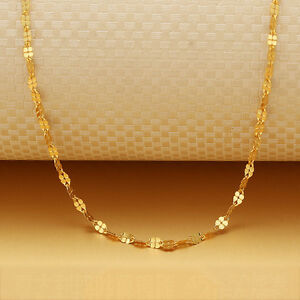 """Solid 18K Yellow Gold Necklace Stamp Au750 Clover Women Chain 18"""" Gift For Women"""