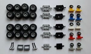 Lego car parts, tyres, steering wheel, gear sticks used and new as seen in photo