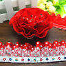 DIY 3 yards 3-Layer Red organza Lace Gathered  Pleated sequined Trim A02-1