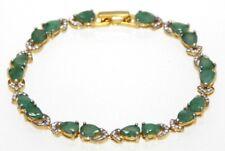 Emerald Bracelet Emeralds 925er Silver Gold Plated 19,5 CM