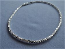 "Shimmery Faceted Design-Italy 925 10"" Sterling Silver Ankle Bracelet"