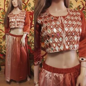 Fairtrade Hand-Made Mirror Work Copper Ombre Satin Indian Sari Skirt Top Set S