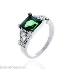 18K White Gold Plated Emerald Green Dress Ring. Size 6.5