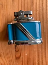 More details for vintage excello table lighter, blue and chrome
