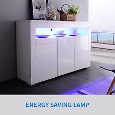 Modern LED Light Top Open Shelf 3 Door Sideboard Cabinet Buffet High Gloss White