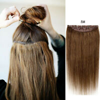 "16""20""24""28"" CLIP IN ONE PIECE 100% REMY HUMAN HAIR EXTENSIONS FULL HEAD 100G"