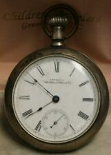 Watch Co. Men's Pocket Watch. Antique Coin Silver American Waltham