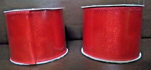 2.5 in Shimmering Red Mesh Wire Ribbon 3 Yards Long Set of 2