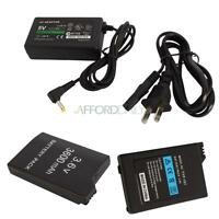 5V AC Adapter Home Charger + 2x 3600mAh Battery for Sony PSP 2000 3000 3001