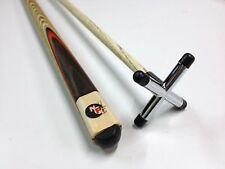 Full Ash With Red Wood Flame WOODEN POOL SNOOKER BILLIARD CHROME Cue Rest