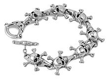 Skulls Stainless Steel Bracelet Punk Rocker Heavy Metal Jewelry Gift 9 inches