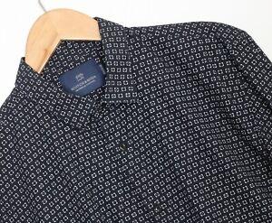 SCOTCH & SODA Regular Fit Printed Blue Casual Shirt Men Size L Long Sleeve