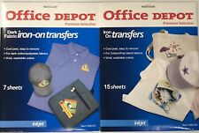 New Office Depot Iron On Transfers Premium Selection 22 Sheets For Inkjet Blank