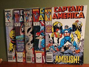 Captain America Lot #5 books #330 9.0, #346 1.0, #347 2.0, #348 5.0, #349 4.0