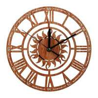 Round Roman Numeral  Large Wall Clock Wooden Hanging Home Decor