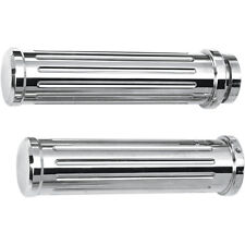 Pro 1 Chrome Grooved Style Billet Hand Grips for 1984-15 Harley Softail Dyna XL