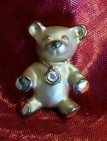Vtg GIUSTI Teddy Bear Gold-Tone Diamond Chip Signed Pin Designer