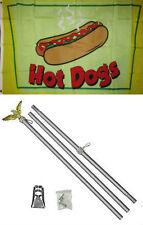 3x5 Advertising Hot Dogs Food Flag Aluminum Pole Kit Set 3'x5'