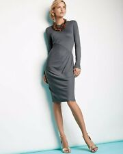 $275 DKNY Gray Long Sleeve With Pleated Front Jersey Dress XS 0 2 NEW D333