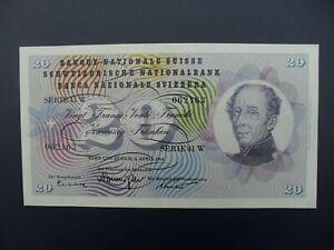EARLY DATE 1964 SWITZERLAND 20 FRANKEN BANKNOTE ORIGINAL GEF